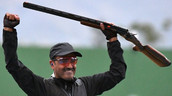 Fehaid Aldeehani nabbed gold in the men's double trap, marking the first gold for any athlete competing under the Olympic flag. (Aldeehani is from Kuwait, whose Olympic committee was banned from this year's Games.)