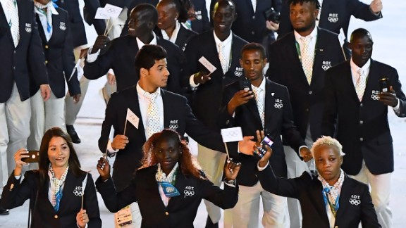 Ten athletes are competing under the banner of this new team. The athletes hail from Syria, Ethiopia, South Sudan and the Democratic Republic of the Congo.