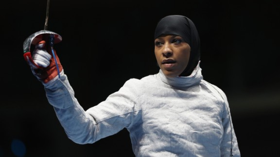 RIO DE JANEIRO, BRAZIL - AUGUST 08:  Ibtihaj Muhammad of the United States looks on during the Women