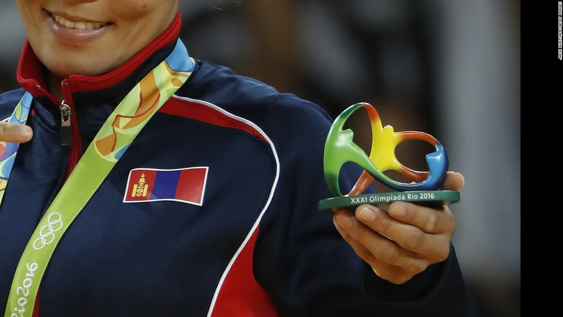 If you noticed something missing from the podium this year, it's probably the large bouquets customarily given to medalists. This year, Olympic officials said the flowers don't represent a sustainable use of resources, and instead chose to hand out these nifty medal stands, which are 3-D versions of the Rio Olympics logo.
