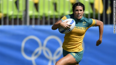 Australia's Charlotte Caslick scores a try in the Women's Rugby Sevens match between Australia and Colombia during the Rio 2016 Olympic Games.