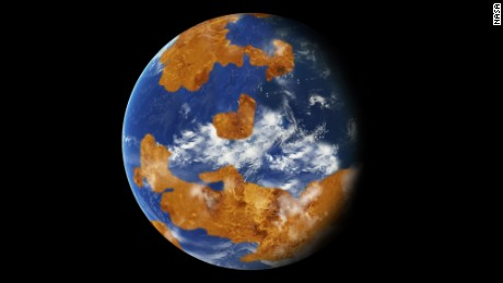 Observations suggest Venus may have had water oceans in its distant past. A land-ocean pattern like that above was used in a climate model to show how storm clouds could have shielded ancient Venus from strong sunlight and made the planet habitable.