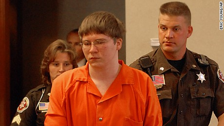 Brendan Dassey is escorted into court for his sentencing Thursday, Aug. 2, 2007, in Manitowoc, Wis. Dassey, a teenager convicted of helping his uncle rape and kill a woman, was sentenced to life in prison on Thursday with the possibility of parole in 41 years. (AP Photo/Eric Young, Pool)