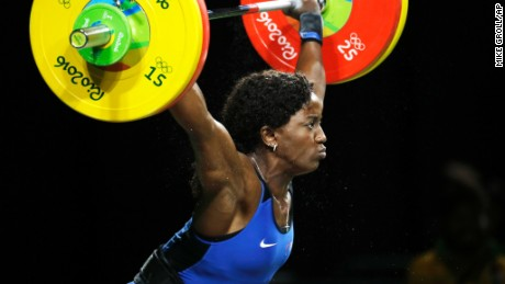 Gaelle Verlaine Nayo Ketchanke, of France, competes in the women's 75kg weightlifting competition at the 2016 Summer Olympics in Rio de Janeiro, Brazil, Friday, Aug. 12, 2016. (AP Photo/Mike Groll)