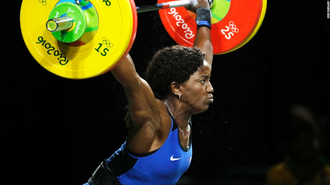 French weightlifter Gaelle Nayo-Ketchanke competes in the 75-kilogram (165-pound) event.
