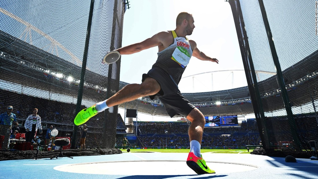 Germany's Daniel Jasinski competes in the discus final.