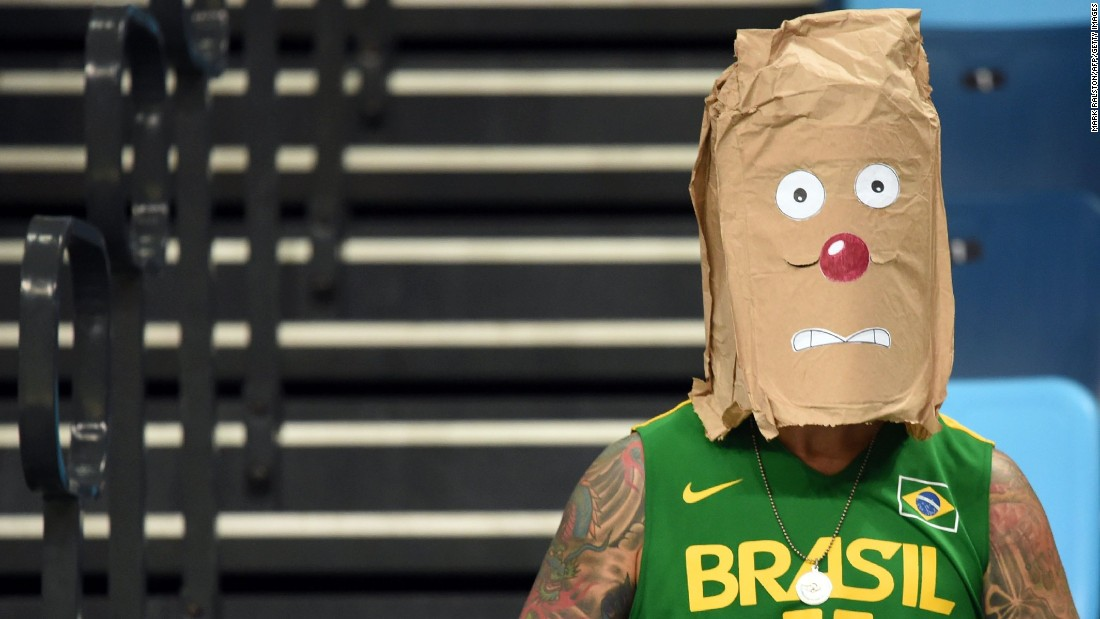 A fan of Brazil wears a makeshift mask while waiting to watch the men's Group B basketball match between Argentina and Brazil.