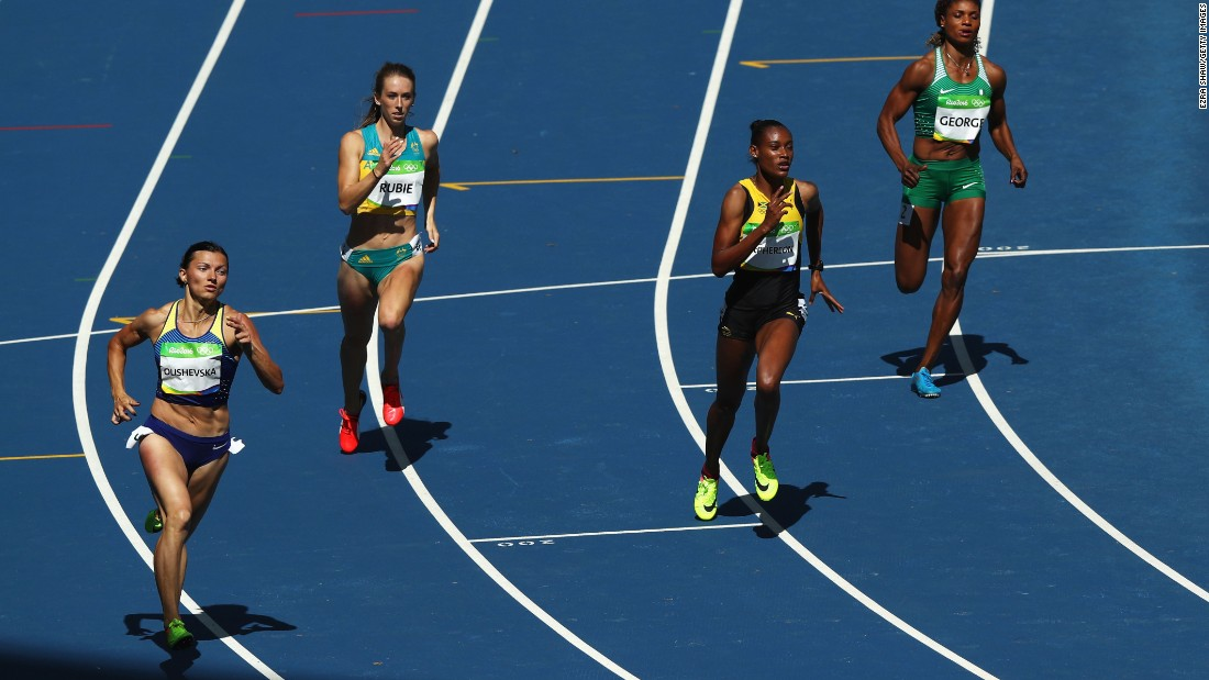 From left to right, Yuliya Olishevska of Ukraine, Anneliese Rubie of Australia, Stephenie Ann McPherson of Jamaica and Patience Okon George of Nigeria compete in a 400-meter heat.
