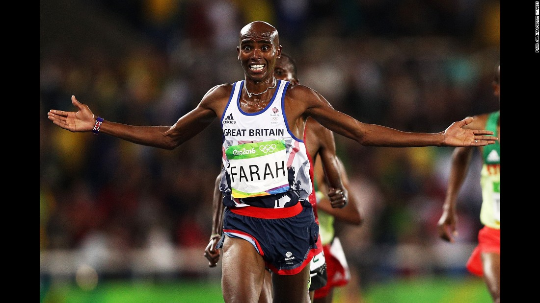 Mo Farah became the first British track athlete to win three Olympic gold medals as he retained his 10,000-meter title.