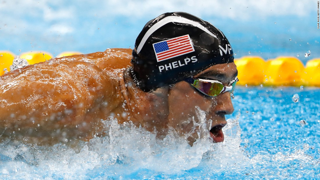US swimmer Michael Phelps competes in the 4x100-meters medley relay, where he earned his 23rd gold medal.