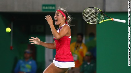 Monica Puig of Puerto Rico reacts after defeating Angelique Kerber of Germany.