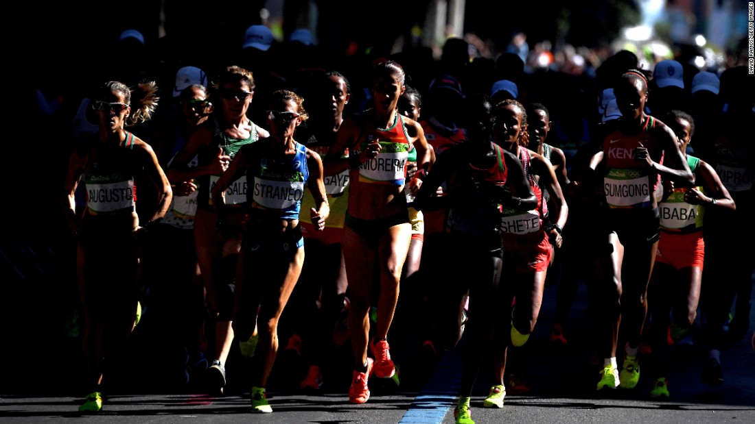 Runners compete in the Women's Marathon on Day 9 of the Rio 2016 Olympic Games on Sunday, August 14.