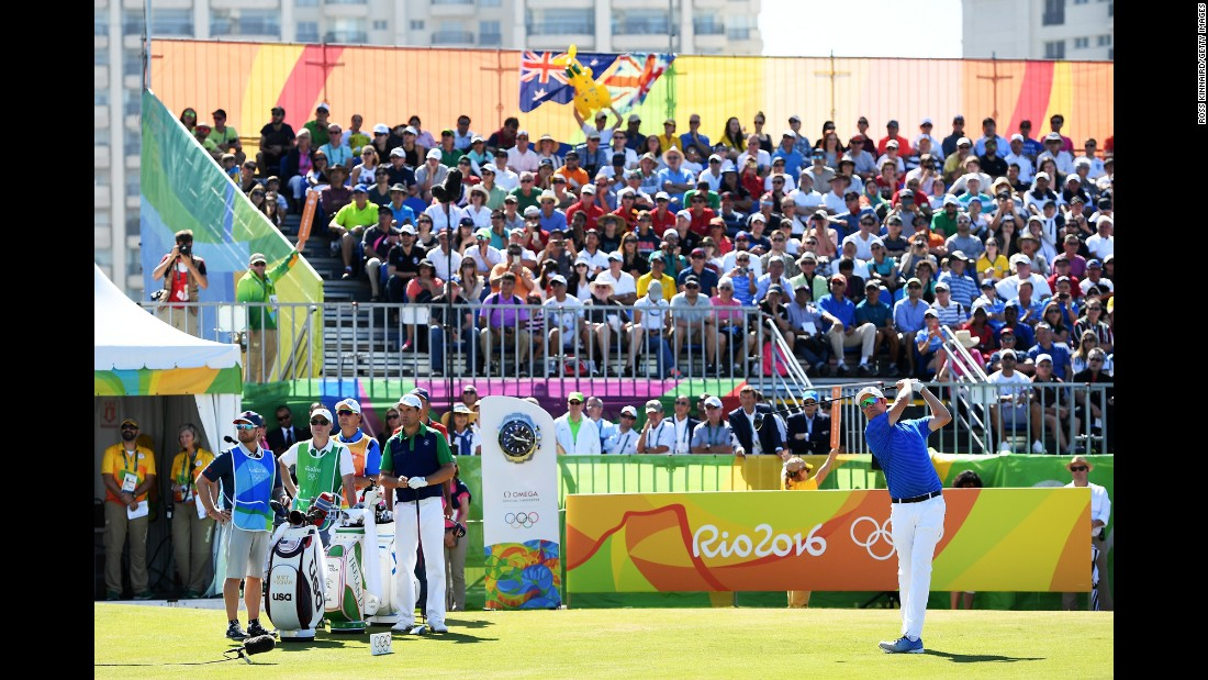 Mikko Ilonen of Finland takes a shot from the first tee at the Olympic Golf Course.