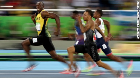Usain Bolt of Jamaica leaves the rest of the field behind in a 100-meter heat at the Rio Olympics.