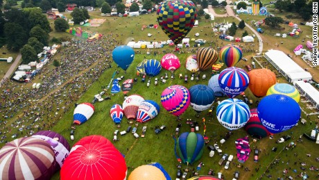 Dozens of hot air balloons gathered for a colorful fiesta in England