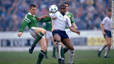 Atkinson contests the ball during an appearance for the England B team in 1990.