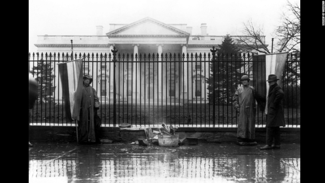 The Silent Sentinels protested in front of the White House six days a week, starting on January 10, 1917, until June 4, 1919. They were the first organization to picket at the White House.