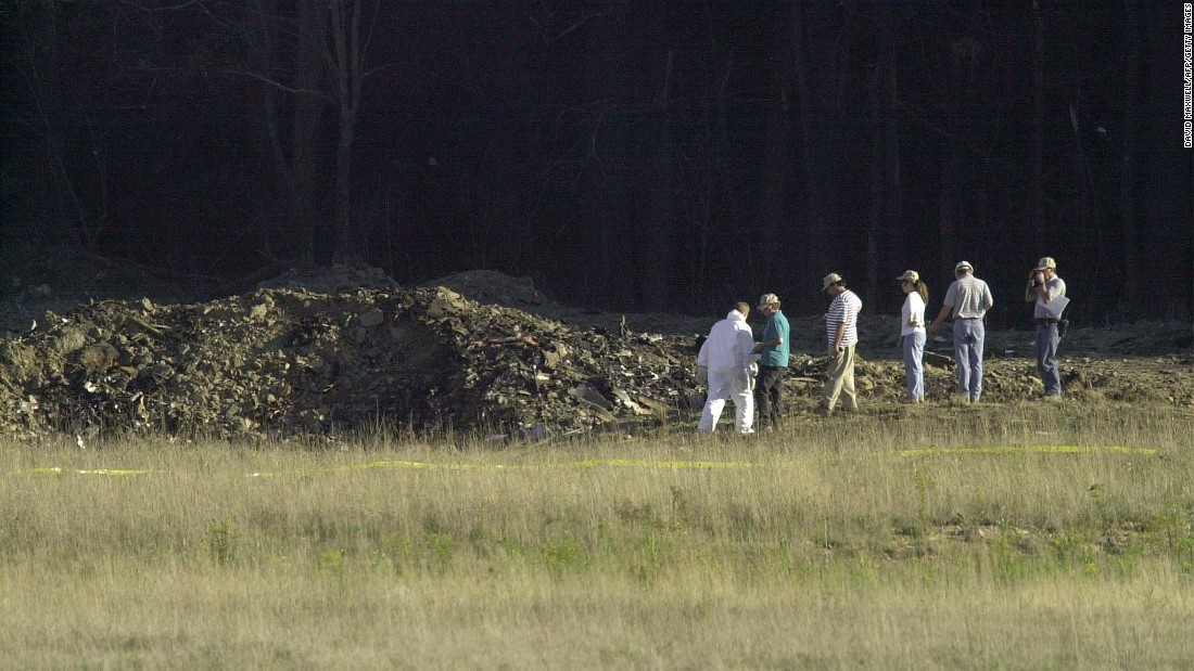 At 10:03 a.m., United Airlines Flight 93 -- traveling from Newark, New Jersey, to San Francisco -- crashed in a field near Shanksville, Pennsylvania. It is believed that the hijackers crashed the plane in that location, rather than their unknown target, after the passengers and crew tried to retake control of the flight deck.