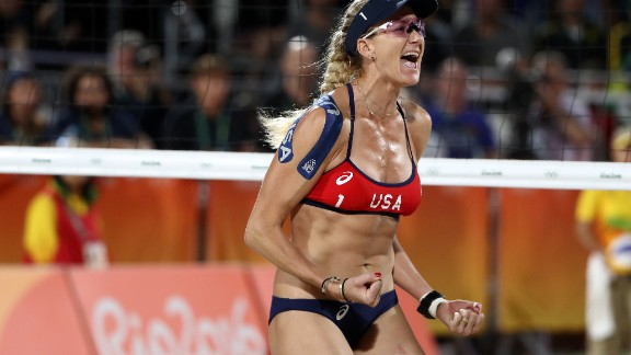 RIO DE JANEIRO, BRAZIL - AUGUST 08:  Kerri Walsh Jennings of United States celebrates during the Women