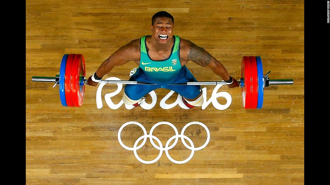 Brazilian weightlifter Mateus Gregorio competes in the 105-kilogram (231-pound) category.