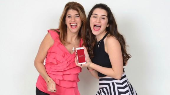 Audrey Mann Cronin, creator of the app LikeSo, along with her 16-year-old daughter