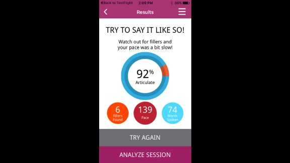 The LikeSo app gives you a score based on how many verbal fillers you used and the pace of your speech.