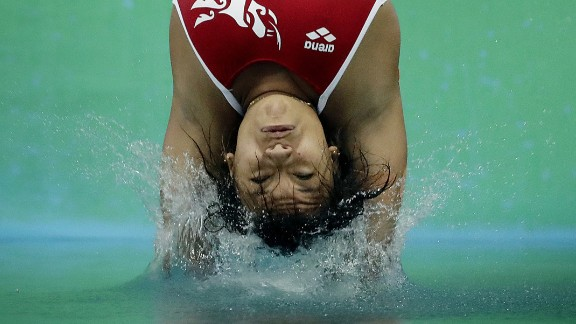 Mexican diver Melany Hernandez competes in the 3-meter springboard event on Friday, August 12.