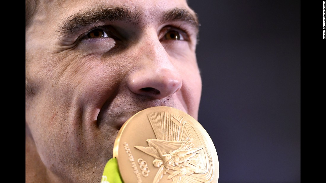 "U.S. swimmer Michael Phelps -- the most decorated Olympian of all time -- kisses his gold medal from the 4x200 freestyle on Tuesday, August 9. Phelps finished the Rio Games with five gold medals and one silver. He <a href=""http://www.cnn.com/2016/08/13/sport/michael-phelps-olympics-rio-2016-4x100m-freestyle-medley/"" target=""_blank"">ends his Olympic career</a> with 23 gold medals and 28 medals overall."