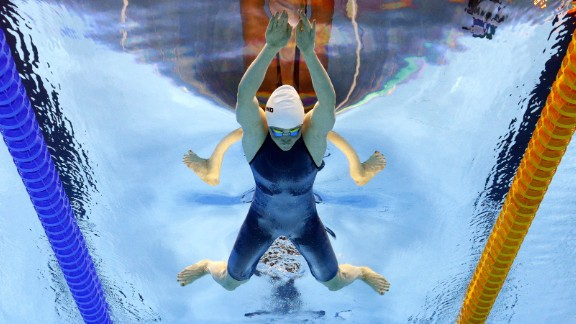 Ireland's Fiona Doyle swims the 200-meter breaststroke on Wednesday, August 10.