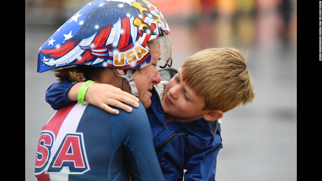 "American cyclist Kristin Armstrong hugs her son, Lucas, after <a href=""http://www.cnn.com/2016/08/10/sport/kristin-armstrong-cycling-usa/index.html"" target=""_blank"">winning the time trial</a> for the third straight Olympics on Wednesday, August 10. Williams won gold at the event a day before turning 43 years old. She was the oldest woman in the field by seven years."