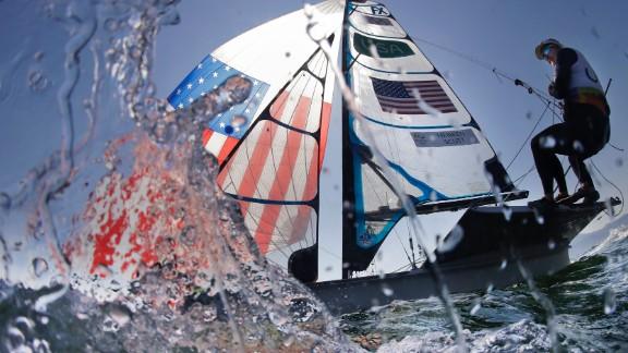 American Helena Scutt sails before the start of a 49er FX race.