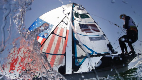 American Helena Scutt sails before the start of a 49er FX race on Monday, August 15.