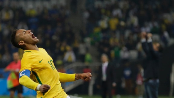 Brazilian soccer star Neymar celebrates after a quarterfinal victory over Colombia on Saturday, August 13. He scored the first goal of the match, which ended 2-0.