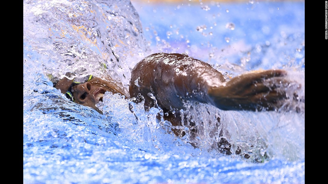 Thibault Amani Danho, a swimmer from the Ivory Coast, competes in the 100-meter freestyle on Tuesday, August 9.