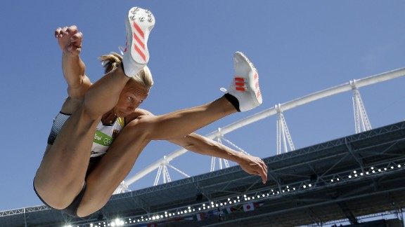 Germany''s Jennifer Oeser competes in the long-jump portion of the heptathlon on Saturday, August 13.