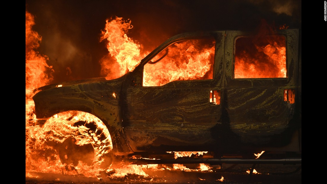 Dramatic scenes are emerging from a wildfire that began Saturday in Lake County, California, affecting the towns of Clearlake and Lower Lake, where this picture of a burning truck was taken.