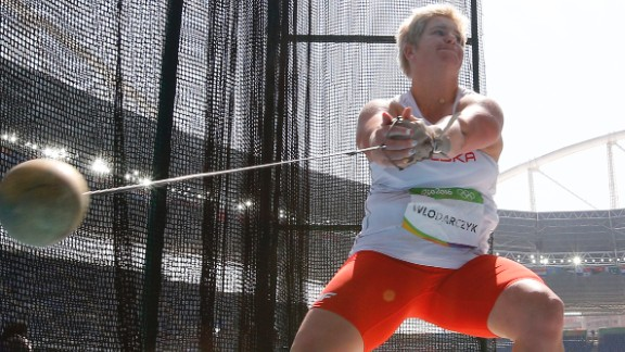 Poland's Anita Wlodarczyk competes in the hammer throw final, where she broke her own world record on her way to winning gold. Her record throw was 82.29 meters (269 feet, 11 inches).