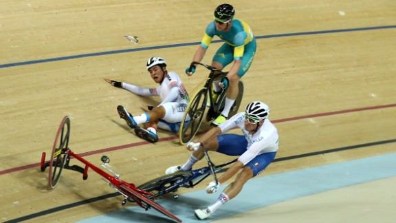Viviani, front, gets caught up in a crash during the points race portion of the omnium event. British cyclist Mark Cavendish apologized for causing the crash, which led to South Korea's Park Sang-hoon being taken off on a stretcher.