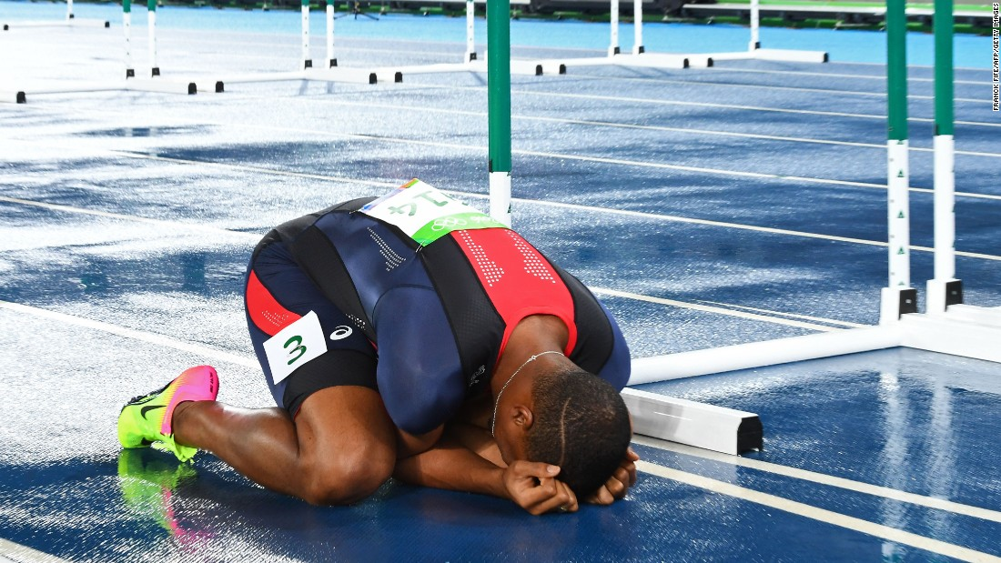 France's Wilhem Belocian reacts after a false start disqualified him from the 110-meter hurdles.