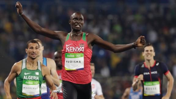 Kenya's David Rudisha successfully defends his Olympic title in the 800 meters.