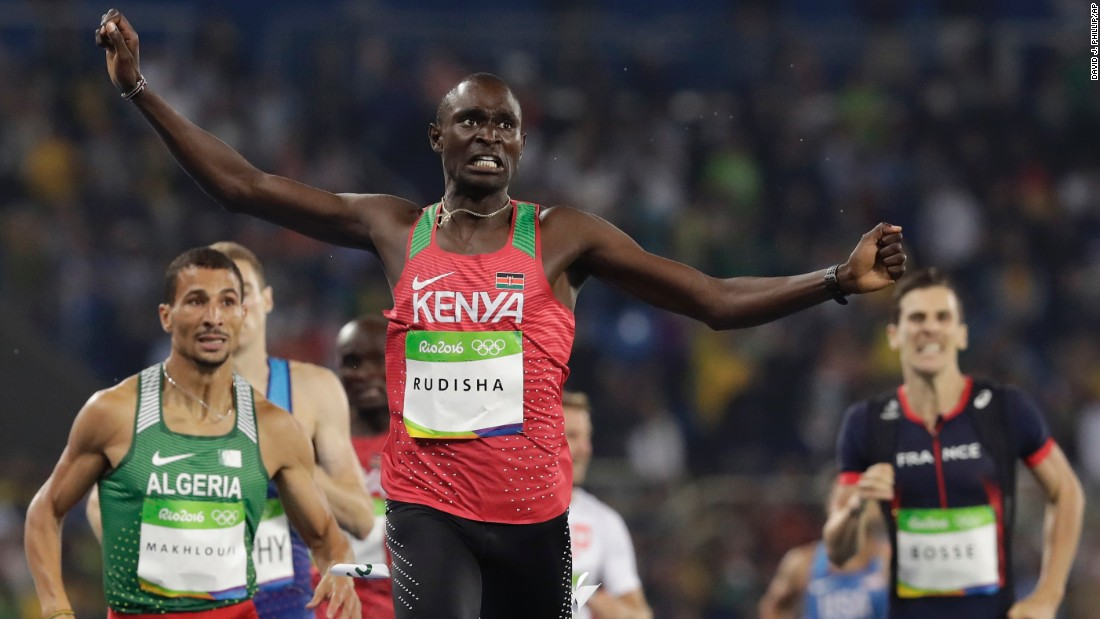 Kenya's David Rudisha successfully defends his Olympic title in the 800 meters.