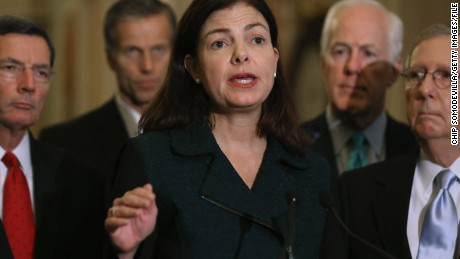 WASHINGTON, DC - NOVEMBER 10:  Sen. Kelly Ayotte (R-NH) talks to reporters after the weekly Republican policy luncheon with Senate GOP leaders at the U.S. Capitol November 10, 2015 in Washington, DC. The Senate passed the Defense Authorization Act by a vote of 91-3, sending the spending bill back to President Barack Obama with language that will make it hard for him to close the military prison at Guantanamo before he leaves office in 2017.  (Photo by Chip Somodevilla/Getty Images)