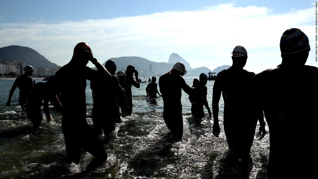 Swimmers prepare for the 10-kilometer open water event. Ferry Weertman of the Netherlands earned the gold.