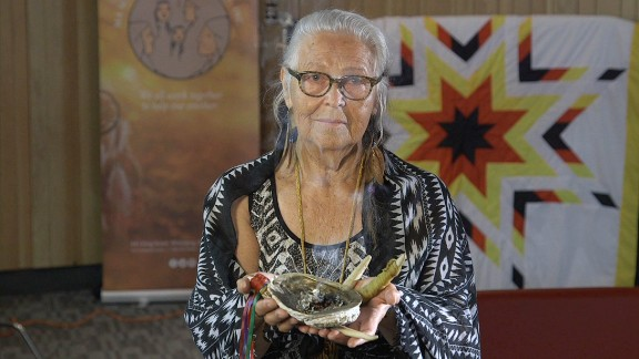 """Elder Mae Louise Campbell helps victims re-connect with indigenous culture. """"The only way that [trafficking survivors] are going to feel whole again is to reconnect to their traditional ways,"""" she says."""