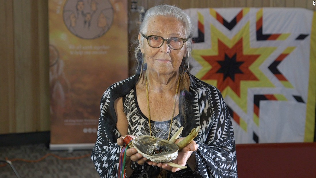 "Elder Mae Louise Campbell helps victims re-connect with indigenous culture. ""The only way that [trafficking survivors] are going to feel whole again is to reconnect to their traditional ways,"" she says."