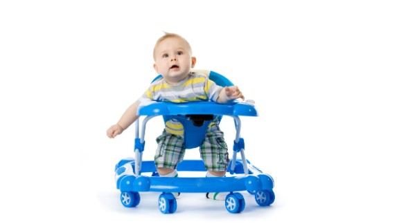 The American Academy of Pediatrics has called for a ban on the manufacture and sale of baby walkers with wheels because children can roll down stairs and become injured. They can also roll into pools or other water and get closer to items that will burn or poison them.