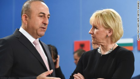 Turkish Foreign Affairs Minister Mevlut Cavusoglu and Sweden Foreign Minister Margot Wallstrom in May.