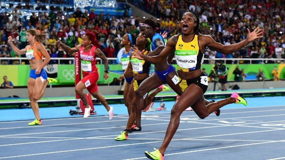 """Thompson lit up the Rio 2016 Olympics, becoming the first woman to win gold <a href=""""https://www.olympic.org/elaine-thompson"""" target=""""_blank"""" target=""""_blank"""">in both individual Olympic sprint events</a> since Florence Griffith Joyner at Seoul 1988."""