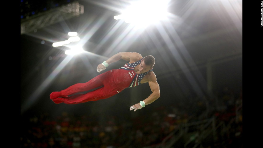 U.S. gymnast Sam Mikulak competes in the final of the horizontal bar.