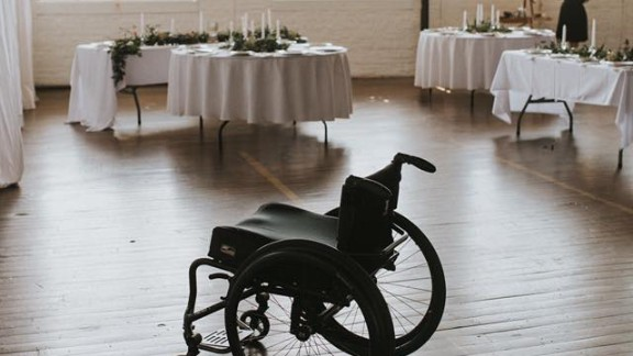 Jaquie Goncher left her wheelchair behind to walk down the aisle and dance at her wedding reception. Photos courtesy of Love Stories by Halie and Alec.